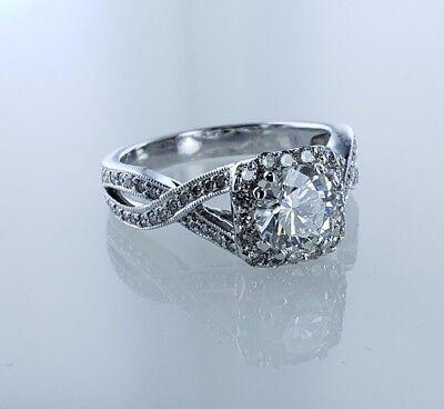 2.04 CTW GIA Round Brilliant SI1 Diamond Ring Halo Desighn White Gold  2