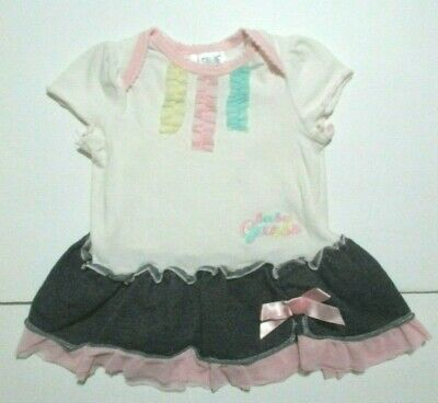 INFANT GIRLS BABY GUESS BLUE FAUX DENIM TEE DRESS SIZE 6-9 MONTHS
