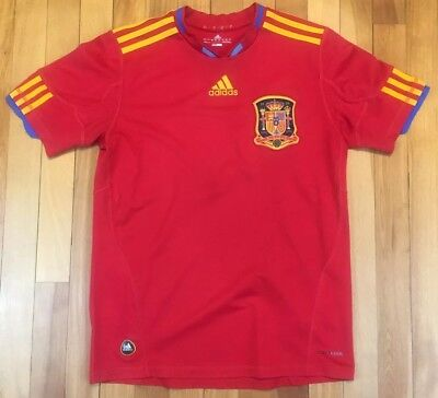 Adidas Spain National Soccer Jersey Red Yellow Youth Large 13 14 Pre 2010 Adidas Spain Youth Home Jersey