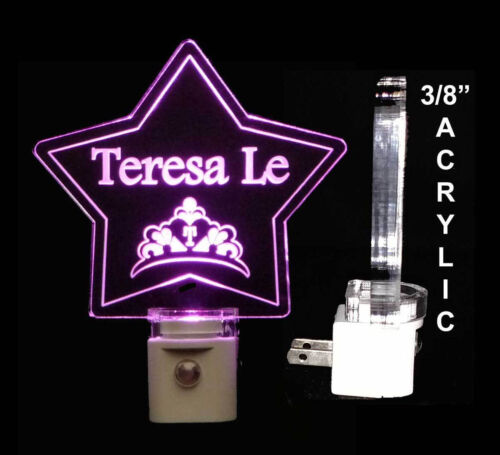 "Princess Crown Star Personalized LED Night Light, Baby, Nursery, 3/8"" Acrylic"