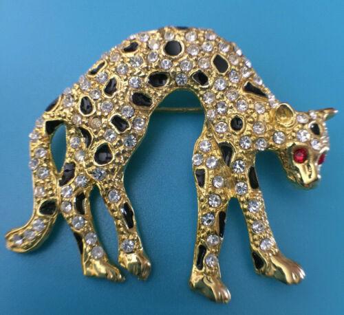 Vintage Brooch Pin Enamel & Rhinestone Panther Jaguar Cheetah Arched Kitty Cat
