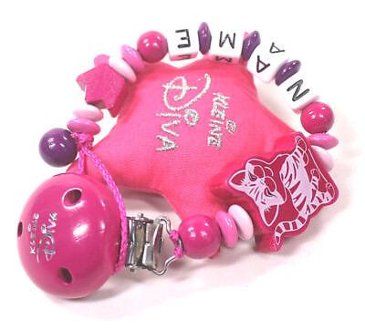 Schnullerkette mit Namen Kleine Diva Katze Krone Mädchen rosa pink lila