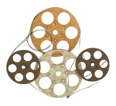 Old Style Metal - Old Hollywood Style 4 Movie Reels Metal Statue Brown Film Strip Decor 51650