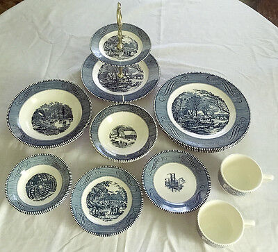 Vintage CURRIER and IVES 15 Dishes & Dinnerware Plates Bowls Cups  2-tier Tray