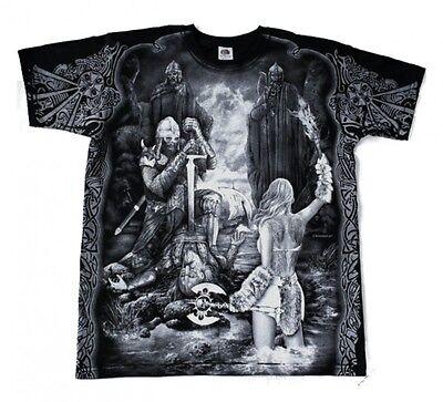 Odin Kostüm (Gothic Metal T - Shirt Valhalla Walhalla Odin Raben Wolf Wikinger M L XL XXL)