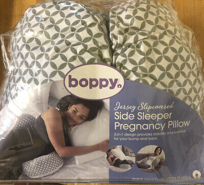 Boppy Side Sleeper Pregnancy Maternity Pillow, Gray and White Jersey Cover