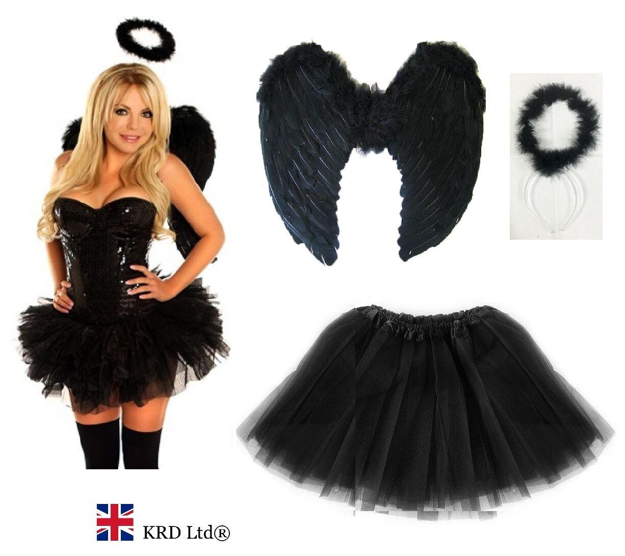 Gothic Home Decor Uk Dark Angel Fairy Feather Wings Halo Fancy Dress Costume