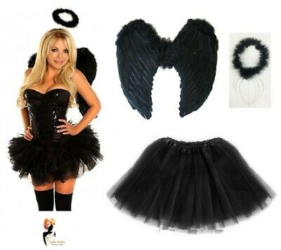 Dark Angel Fairy Feather Wings Halo Fancy Dress Costume Hen Party BLACK Outfit  - Dark Angel Outfits