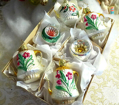 Box 6 BEST Embossed vtg Germany Teapot Coffee Glass Feather Xmas Ornament (Best Glass Teapots)