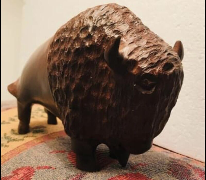 Hand-carved Ironwood  Buffalo Sculpture By The Seri Indians