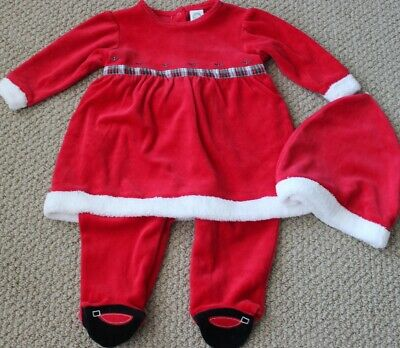 Little Me Romper 6 M Velour Christmas Romper Dress NWT Footed Santa Hat 2 Pc