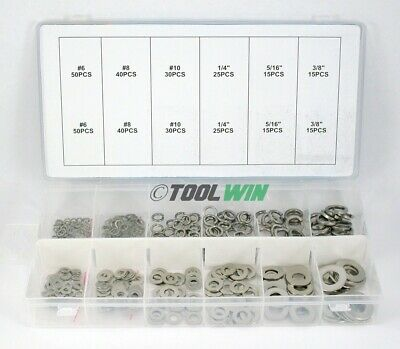 350 Pc Stainless Steel Lock Flat Washer Assortment Nuts Bolt