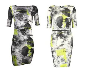 TOPSHOP-Womens-Ladies-Black-Scribble-Fluorescent-Print-Bodycon-Mini-Party-Dress