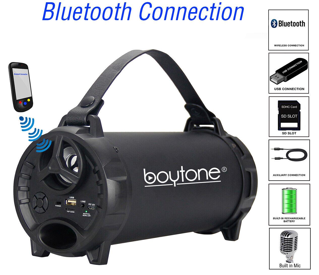 Boytone BT-40BK Portable Bluetooth Indoor/Outdoor Speaker 2.