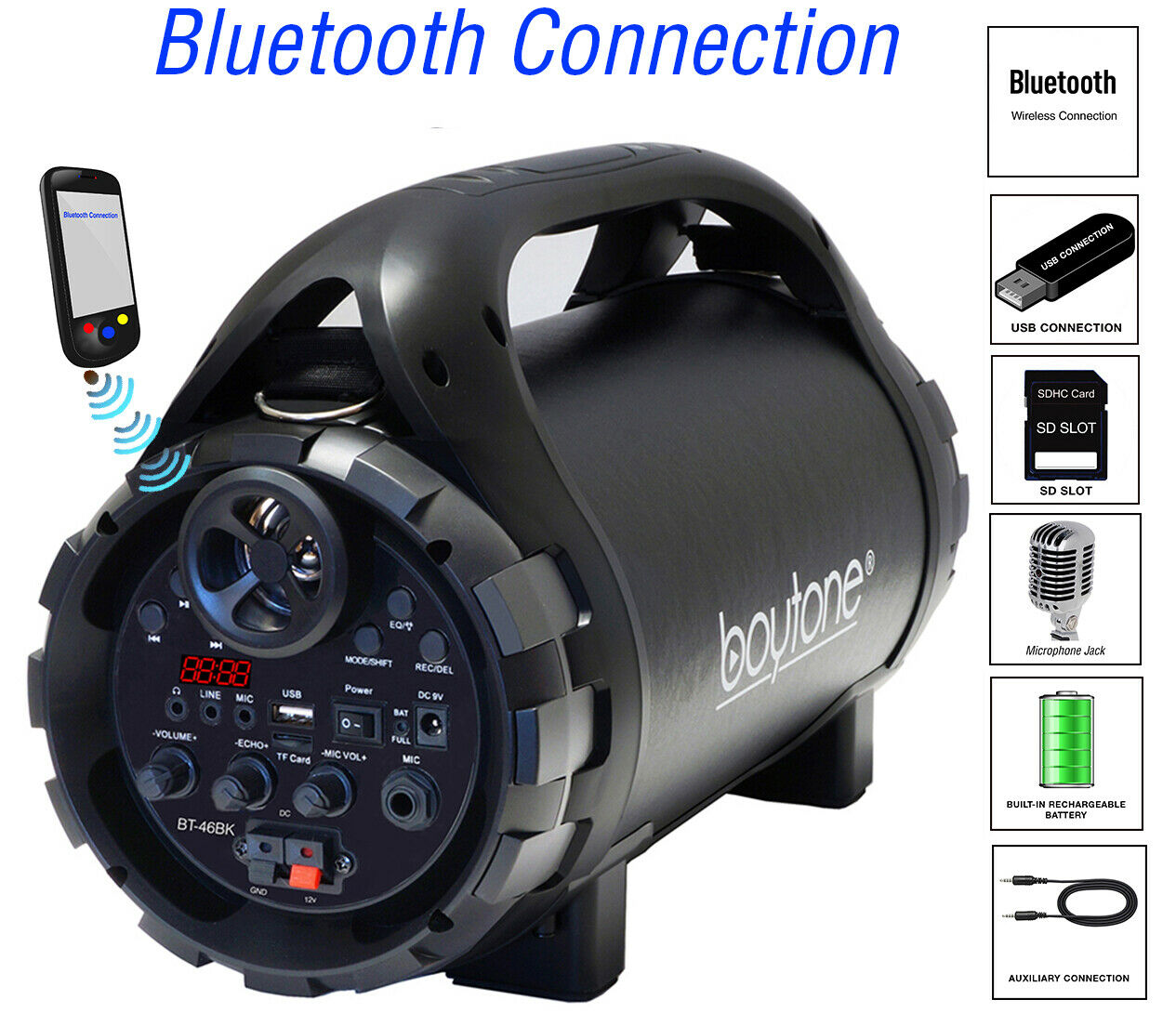 Boytone BT-46BK Portable Boombox Bluetooth Speaker, Indoor/O