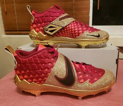 NIKE FORCE ZOOM TROUT 6 LTD BASEBALL CLEATS SIZE 13.5 GOLD RED AT3880-600 RARE!!