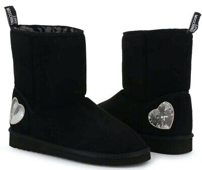 LOVE MOSCHINO Women's Black Fabric Ankle Boots New 100% Authentic