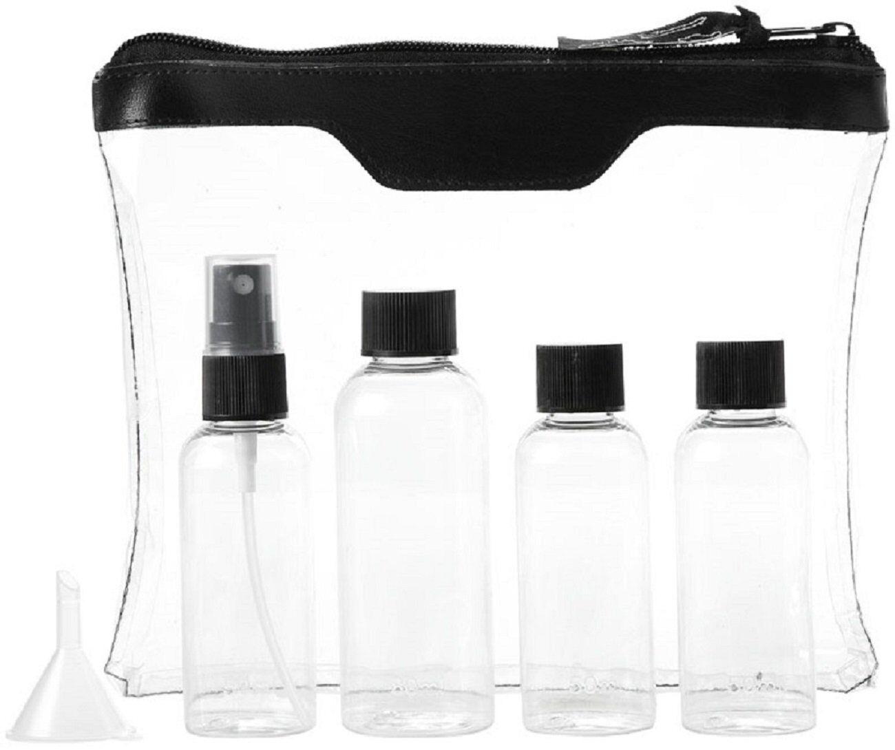 Sicherheitstoilettentasche schwarz inklusive zusätzlichem Ersatzflaschenset
