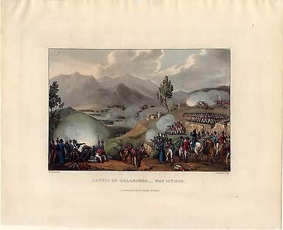 BATTLE of SALAMONDA-Napoleon-Krieg-Aquatinta 1815