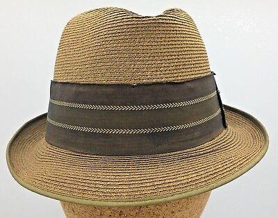 d8ebdd1f2cb4 Vintage Towncraft 50's 60's Mens Fine Braid Straw Fedora Trilby Hat Size 6  7/8