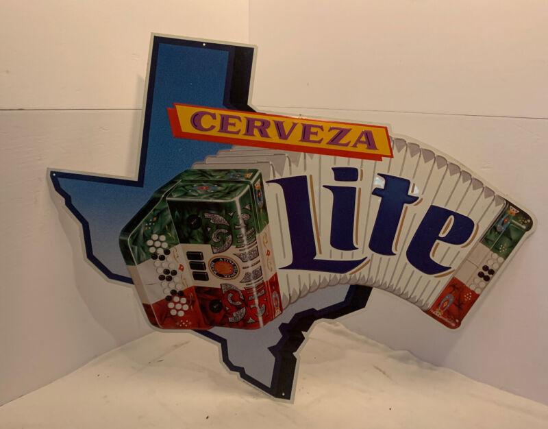 Vintage Texas Embossed Cerveza  Lite Metal Sign - Miller Brewing Co.