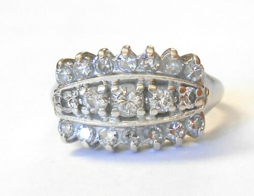 Vintage 3/4ct Diamond 3 Row 14K White Gold Wide Band Ring Size 7.25