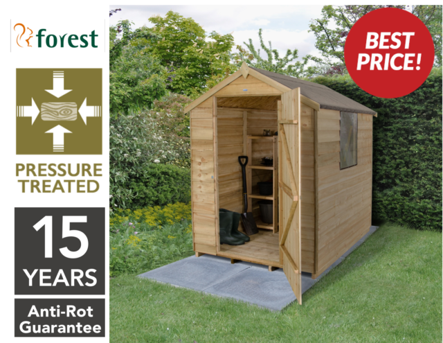 forest 6x4 pressure treated timber apex garden tool shed storage sheds 6ft 4ft - Garden Sheds 6ft By 4ft