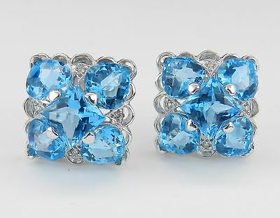14K White Gold Diamond Princess Cut Heart Shaped Blue Topaz Earrings Omega Clip Heart Shaped Diamond Cluster Earrings