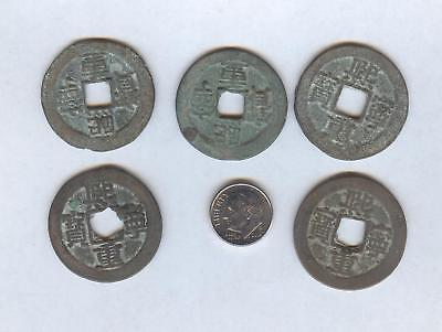 China N. Sung, large Value 2 cash 5 piece lot, over 900 years old, nice pieces - Chinese Coins Value