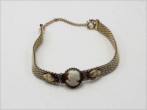 Vintage Victorian Style Gold-Tone Mesh Bracelet with Cameo Accent
