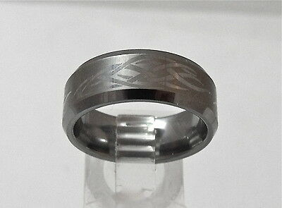 - NEW Tungsten Carbide Mens Etched Design Wedding Band Ring 8mm   Sz 8.5
