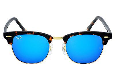 Ray-Ban RB 3016 Clubmaster 1145/17 Tortoise Frame/Blue Mirror Lenses Unisex (Ray Ban Clubmaster Men)