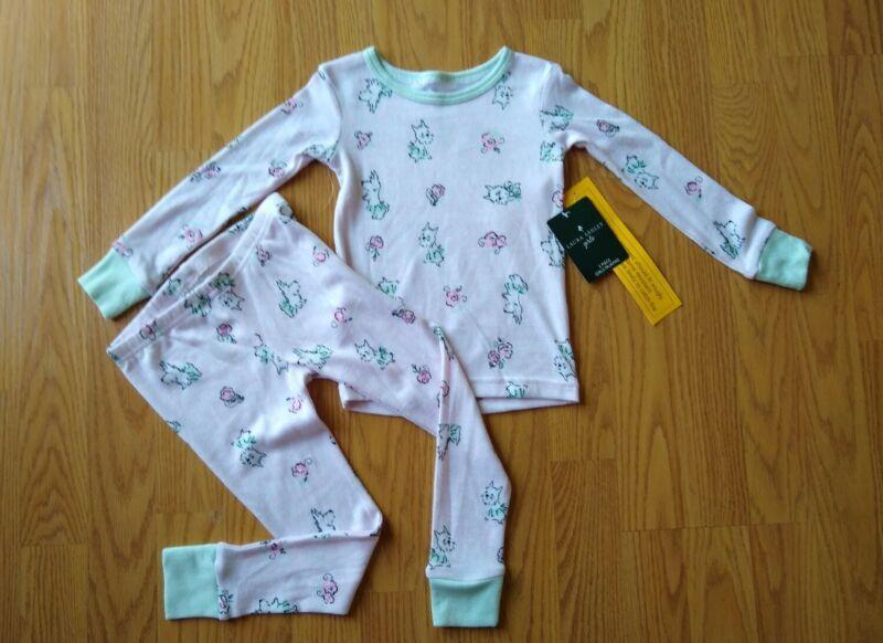 Laura Ashley Toddler Pajamas Set 2T Girls Dogs Flower Snug Fit Pink LS Long NEW