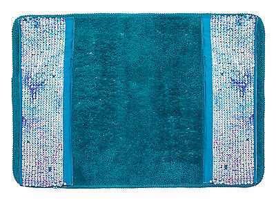 Popular Bath Tammi Aqua Bath Collection – 21 x 32 Banded Bathroom Rug Bath