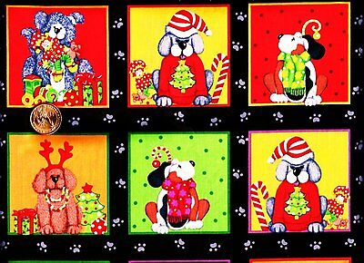 CHRISTMAS Dogs fabric blocks panels - Kimberly Montgomery FQ ()