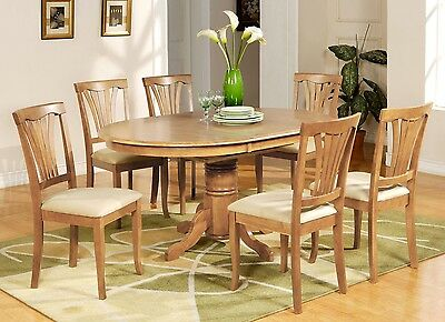 7-PC AVON OVAL DINETTE KITCHEN DINING TABLE w/ 6 UPHOLSTERY CHAIRS IN LIGHT OAK