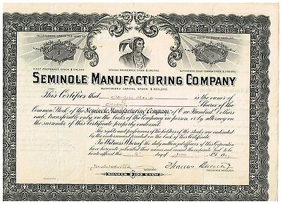 Seminole Manufacturing Co., 1907, Nr.1 !
