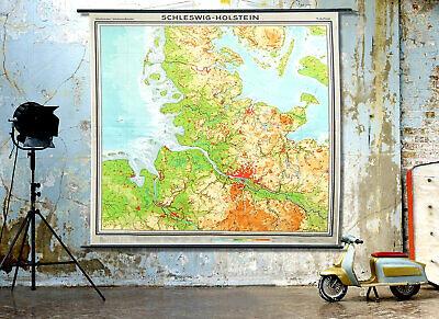 Giant Vintage Wall Map Art 1960s German Educational School Canvas Chart. 2m long