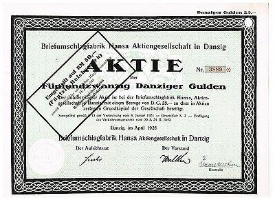 Briefumschlagfabrik Hansa AG in Danzig, Danzig 1925, 25 Danziger Gulden, gelocht