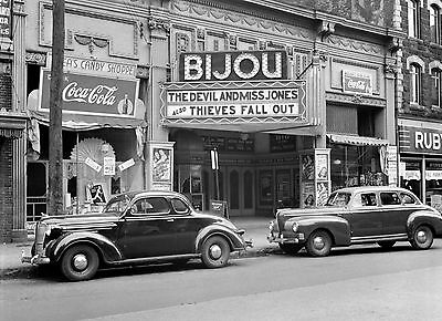 1941 Bijou Movie Theater PHOTO Cinema Screen Holyoke MA, Coca Cola Coke Ads Sign