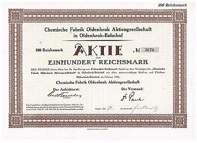 Chemische Fabrik Oldenbok AG, Oldenbrok-Bahnhof 1926, 100 RM, ungelocht