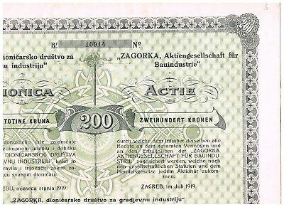 'Zagorka AG für Bauindustrie', Zagreb 1919