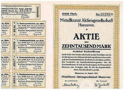 Metallkunst AG, Hannover 1923, 10.000 Mark, selten, mit Kupons, ungelocht