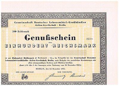 Gemeinschaft Dt. Lebensmittel-Großhändler AG, Berlin 1925, 100 RM, ungelocht