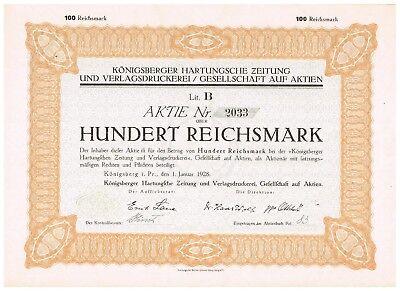 Königsberger Hartungsche Zeitung...Königsberg i.Pr. 1928, 100 RM, ungelocht