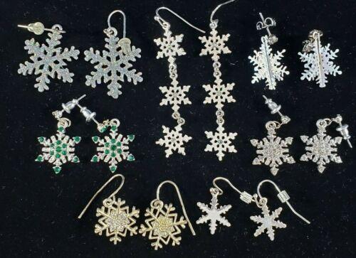 Christmas Holiday Earrings Lot Snowflakes Rhinestones