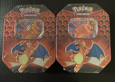 New Factory Sealed Pokémon Hidden Fates Charizard GX Tins Set of 2