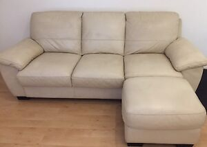 Biege Leather Couch - 3 seater with ottoman - very GUC Queens Park Eastern Suburbs Preview