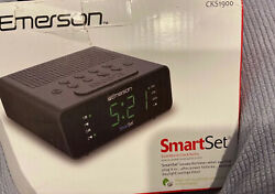 Emerson Smart Set Dual Alarm Clock AM FM Radio Black Time Zones for 50 States