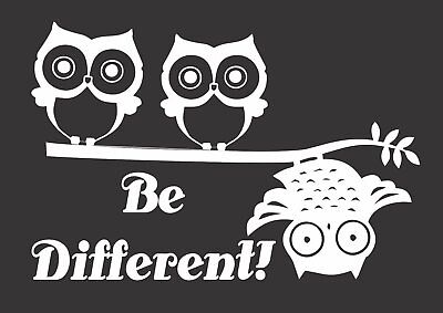 Owls Different Birds Limb 684  Die Cut Vinyl Window Decal/Sticker for Car/Truck